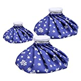 "NEWSTYLE Ice Bag, 3 Pack[6"", 9"" &11"" ] Hot And Cold Reusable Ice Bag,Relief Heat Pack Sports Injury Reusable First Aid for Knee Head Leg (Deep Blue Snowflake)"