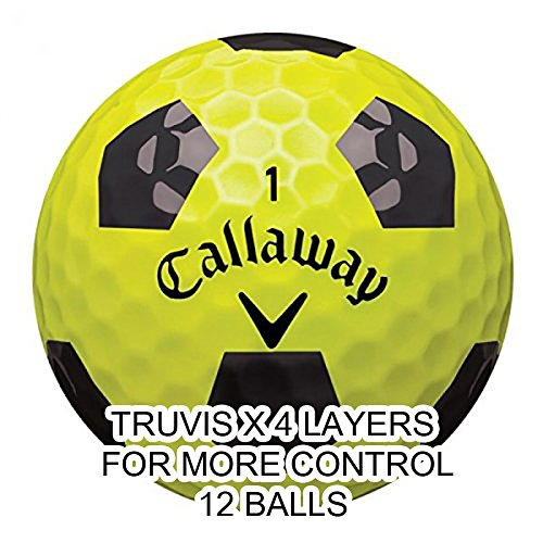 Callaway New 2018 Chrome Soft X Golf Balls - Made in the USA (12 Pack) Choose your Color (X-Truvis Black on Yellow (1 ()