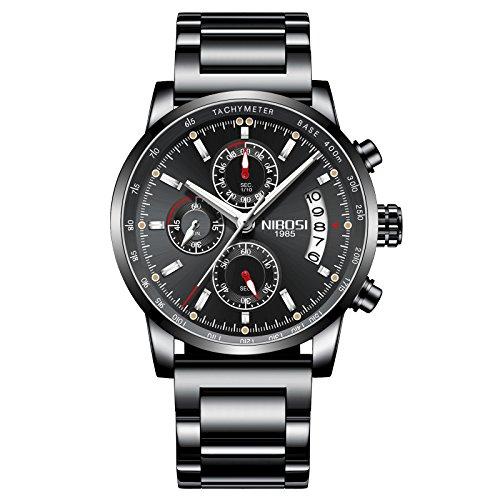NIBOSI Men's Watches Luxury Sports Military Tachymeter Chronograph Waterproof Quartz Wristwatches Black Color