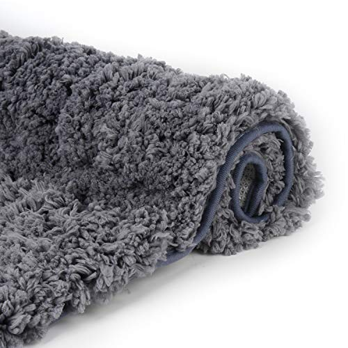 (Luxury Gray Bathroom Rugs Shaggy Bath Rug Non Slip Bath Mat (20 x 32) - Efficient Water Absorbent, Machine Wash/Dry & Extra Soft Plush Bath Tub Mat for Bathroom, Living Room and Laundry Room)