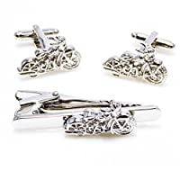 MRCUFF Motorcycle Pair of Cufflinks and Tie Bar Clip with a Presentation Gift Box & Polishing Cloth