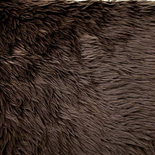FabricLA Shaggy Faux Fake Fur Fabric - Half Yard (Chocolate Brown)