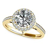 1.01 Carat G-H Diamond Beautiful Love Classy Halo Butterfly Design Promise Wedding Ring 14K Yellow Gold