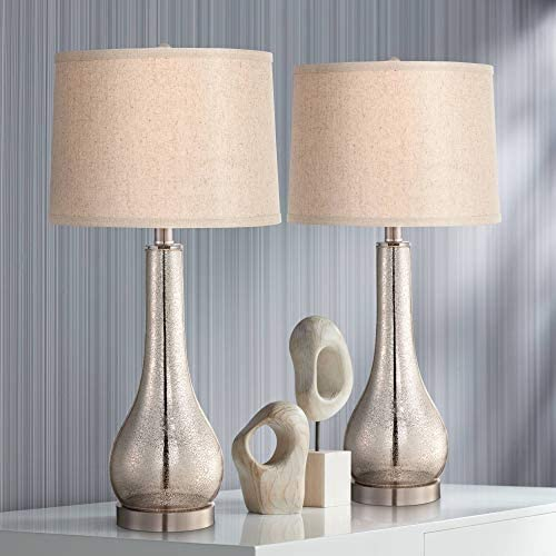 Janna Modern Coastal Table Lamps Set Of 2 Mercury Glass Brushed Nickel Metal Gourd Taupe Drum Shade For Living Room Bedroom Beach House Bedside Nightstand Home Office Family 360 Lighting Amazon Com
