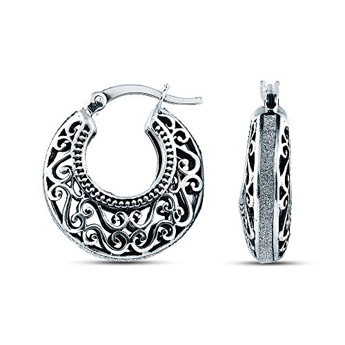 Charmsy Sterling Silver Jewelry Oxidised Filigree Cut with Glitter Hoop Earring for Women 20MM