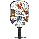 AmaUncle 3D Pickleball Paddle Racket Cover Case,Set of Cute Woodland Animals Tribal Nature Elements Kids Room Nursery Wall Art Customized Racket Cover with Multi-Colored,Sports Accessories