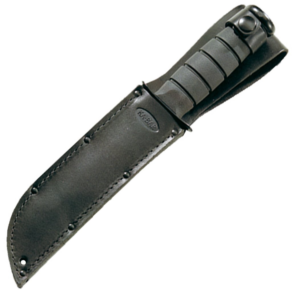 Ka-Bar Straight Edge Knife with Leather Sheath, Black, Short
