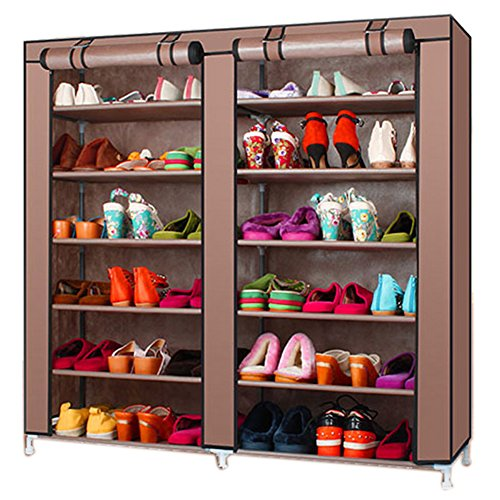 TXT&BAZ 36-Pairs Portable Shoe Rack Double Row with Nonwoven Fabric Cover (7-Tiers Brown) ()
