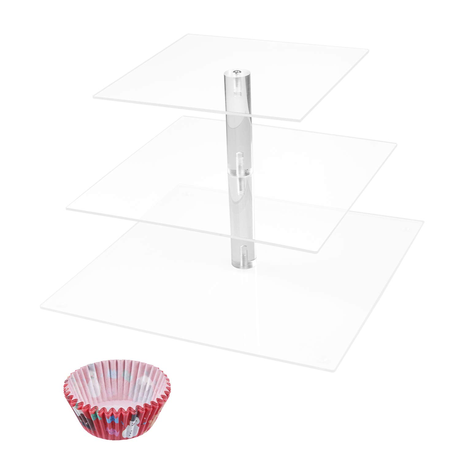 Cupcake Display Stand - 3 Tier Square Cake Stand with 50-piece Disposable Cups - for Weddings, Pastries, Birthday, Graduation