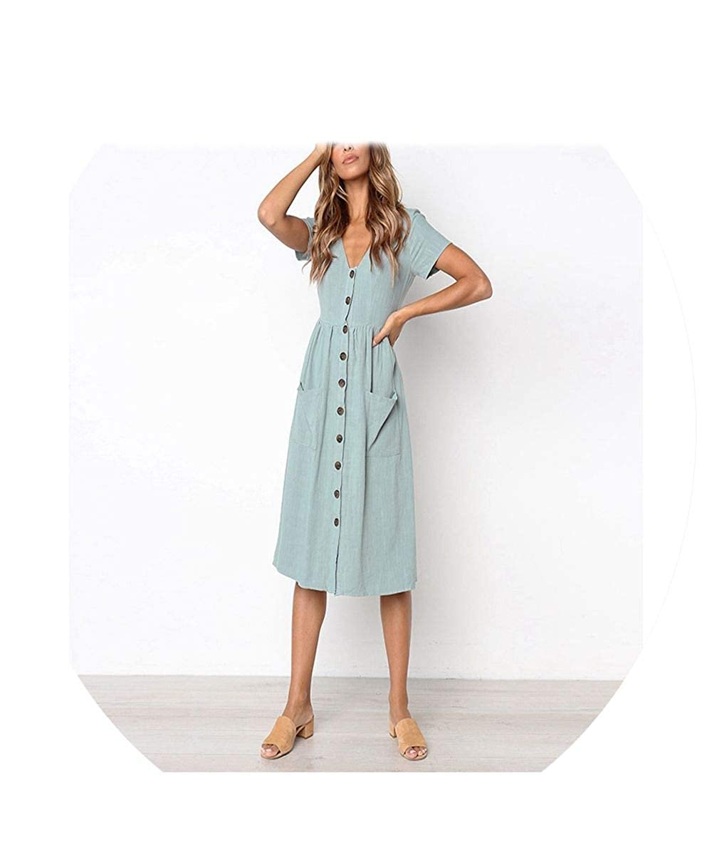 V Neck Button Down Swing Midi Dress Women Casual Style Solid Tunic with Pocket B Spring Moon