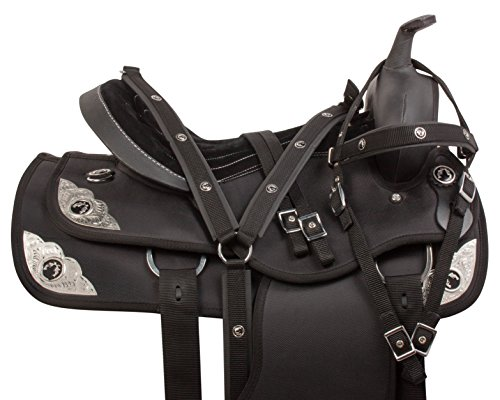 AceRugs-BLACK-SILVER-WESTERN-SYNTHETIC-15-16-17-18-PLEASURE-TRAIL-COMFY-HORSE-SADDLE-TACK-16
