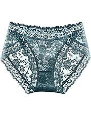 ZDJH Onderbroek voor dames, kant, katoen, naadloze panty's, hoge taille, buikweg-effect, stretch, korsetbroek, ademend, buikcontrole, slipje met kant, hipster, sexy broekje voor vrouwen