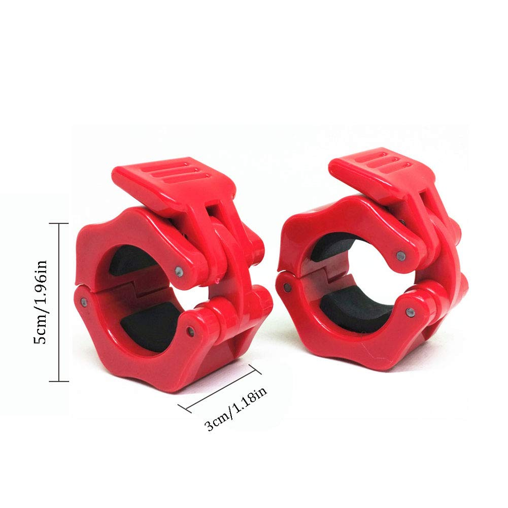 Weightlifting Barbell Clamp Collar-Olympic Barbell Collars-Quick Release 2 Pair of Locking 1Inch Olympic Bar - Great for Cross Fitness Training,Red by GDSZ (Image #3)