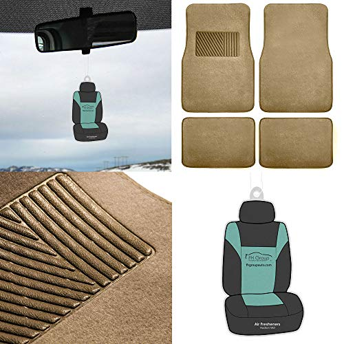 (FH Group F14403 Carpet Floor Mats with Heel Pad w. Free Airfreshener, Beige color- Fit Most Car, Truck, Suv, or Van)