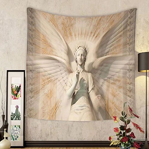 Gzhihine Custom tapestry Sculptures Decor Tapestry Statue Of Angel Woman in Medieval Holy Cathedral Vintage Style Myth Decoration Bedroom Living Room Dorm Decor Tan by Gzhihine