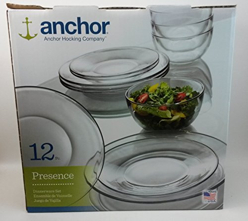 Anchor Hocking 12-Piece Presence Dinnerware Set, (Glass Dinnerware)