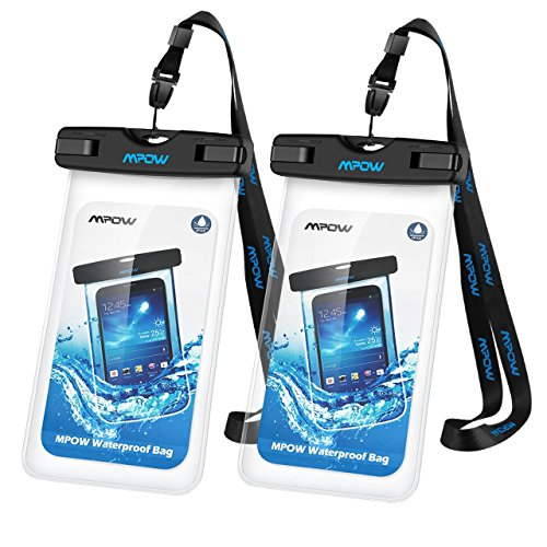 Mpow Universal Waterproof Case, IPX8 Waterproof Phone Pouch Dry Bag for iPhone8/8plus/7/7plus/6s/6/6s plus Samsung galaxy s8/s7 Google Pixel HTC10 (Clear 2-Pack)