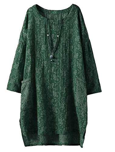 Minibee Women's Long Sleeve Hi-Low Pullover Jacquard Ethnic Style Tunic Tops Green - Long Pullover Linen