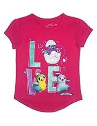 Hatchimals Toddler Girls' Short Puff Sleeve T-Shirt, Beetroot Pink