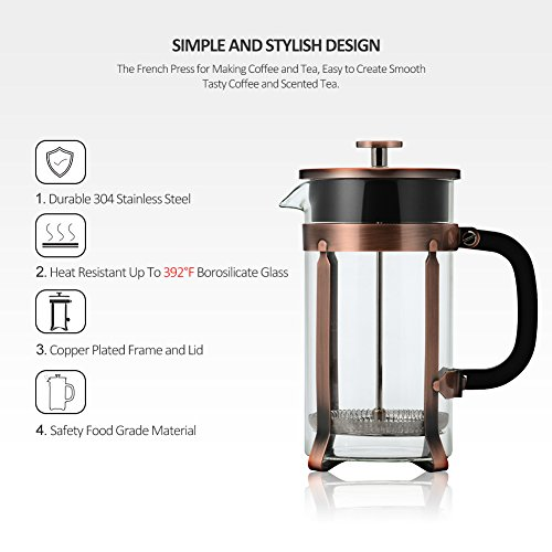 NANAN 8-Cup French Press Coffee Maker, 34 Onze, Stainless Steel