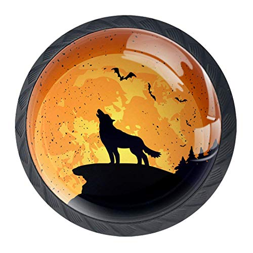 LORVIES Halloween Background with Wolf Drawer Knob Pull Handle Crystal Glass Circle Shape Cabinet Drawer Pulls Cupboard Knobs with Screws for Home Office Cabinet Cupboard 4 Pieces -