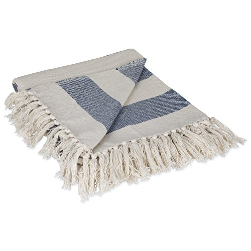 (DII Rustic Farmhouse Cotton Cabana Striped Blanket Throw with Fringe For Chair, Couch, Picnic, Camping, Beach, & Everyday Use, 50 x 60