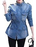 Yeokou Women's Casual Slim Mid Long Denim Jean Windbreaker Jacket Coat (X-Small, Denim Blue)