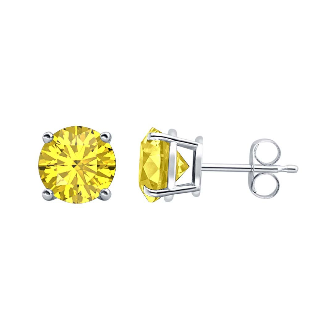 3MM TO 10MM Fancy Party Wear Round Cut Yellow Sapphire Solitaire Stud Earrings 14K White Gold Over .925 Sterling Silver For Womens /& Girls