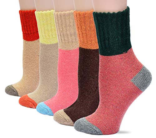 Field4U Women's Crew Socks Wool Thick Winter 5-Pack - Colorful,Medium