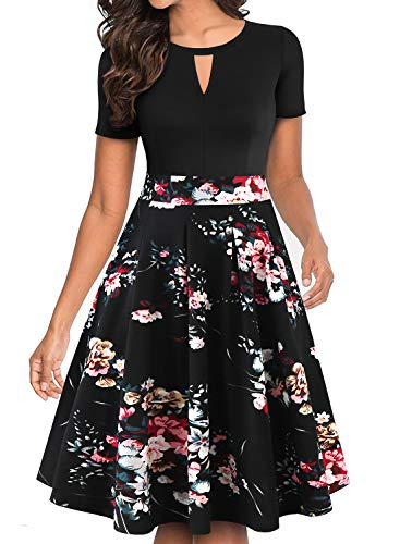 - YATHON Women's Black Floral Print Dress Vintage Round Neck Short Sleeve Stretchy Pocket Business Party A Line Church Dresses for Women Wear to Work (M, YT018-Black Floral 02)