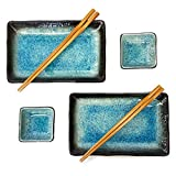 Happy Sales 6 Piece Japanese Sushi Plate Dinnerware Set, Blue Ocean