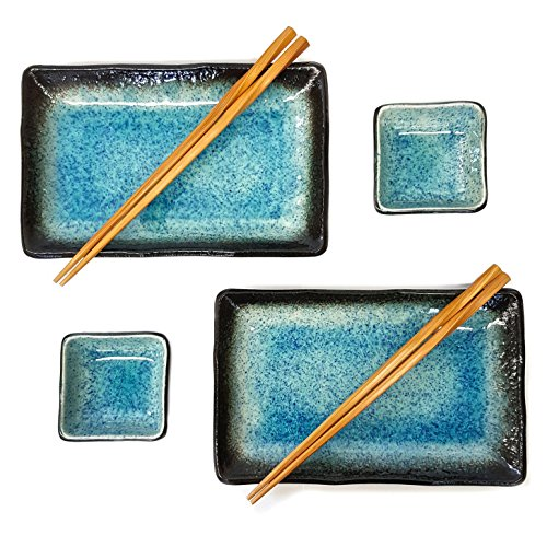 Happy Sales 6 Piece Japanese Sushi Plate Dinnerware Set, Blue Ocean (Japanese Stoneware)