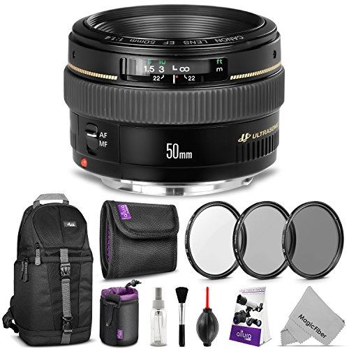 Canon EF 50mm f/1.4 USM Standard Telephoto Lens w/ Advanced Photo and Travel Bundle - Includes: Altura Photo Sling Backpack, UV-CPL-ND4, Neoprene Lens Pouch, Camera Cleaning Set by Canon