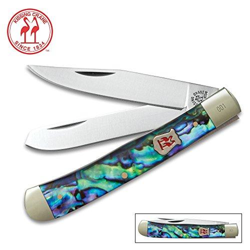 Kissing Crane Genuine Abalone Trapper Pocket Knife