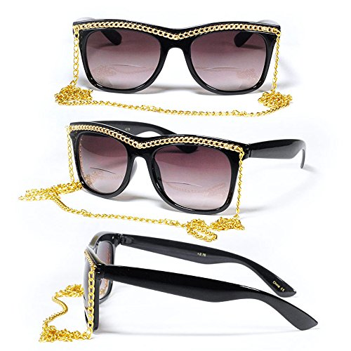 Bifocal Square Retro Urban 70s 80s Women Diva Chain Necklace Sun Reader Reading - Bans Ray 1980s