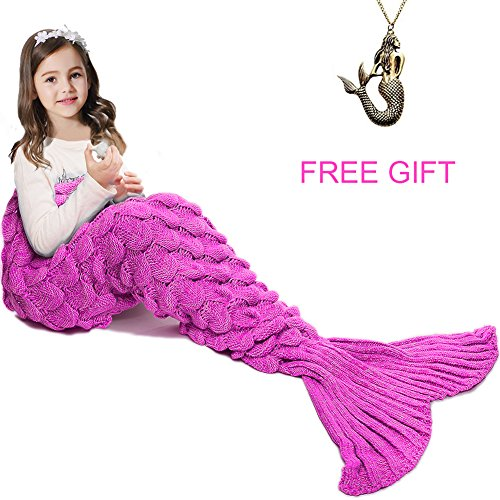 Mermaid Tail Blanket ,Hand Crochet Snuggle Mermaid,All Seasons Seatail Sleeping Bag Blanket for Kids,Teenage,Aduit by Jr.White
