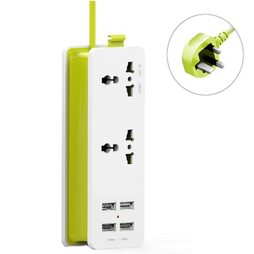 UK Plug Travel Power Strip with 4 USB Ports, Cuitan Portable Wall Plug 2 Outlets Surge Protector Power Sockets 1.5M Power Supply Cord Charging Station for iPhone Samsung Home Electronics - Green&White