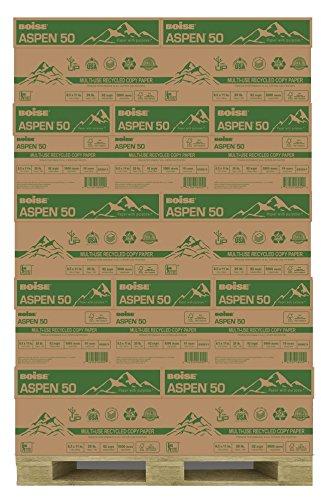 BOISE ASPEN 50 MULTI-USE RECYCLED COPY PAPER, 8 1/2'' x 11'', Letter, 92 Bright White, 20 lb., 5000 Sheets/Carton, 40 Cartons/Pallet