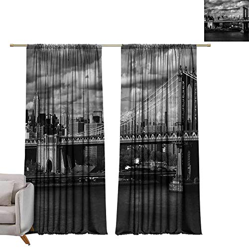 (WinfreyDecor New York Bedroom Curtain Black and White Panorama of New York City Skyline with Focus on Manhattan Bridge Photo Noise Reducing W84 x L84)