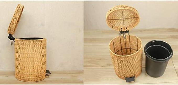 Casa /& Cocina Basura Pueden con Tapa Redonda-Amarillo 3L Qiaogth Rat/án y Mimbre Movible Cubo de Basura Pedal del Cubo de la Basura