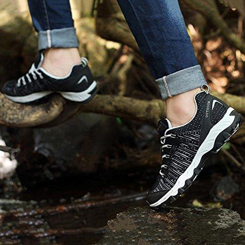 Uomini/signore moda traspirante Flyknit tempo libero Scarpe sportive durevole luce slittata scarpe da ginnastica jogging campeggio Escursionismo , Black , 41