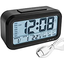 Digital Alarm Clock, Backlight LCD Morning Clock Travel Alarm Clock with 3 Alarms Thermometer Calendar Large Display Smart Nightlight Soft Light Snooze, Battery Operated with USB Charger (Black)