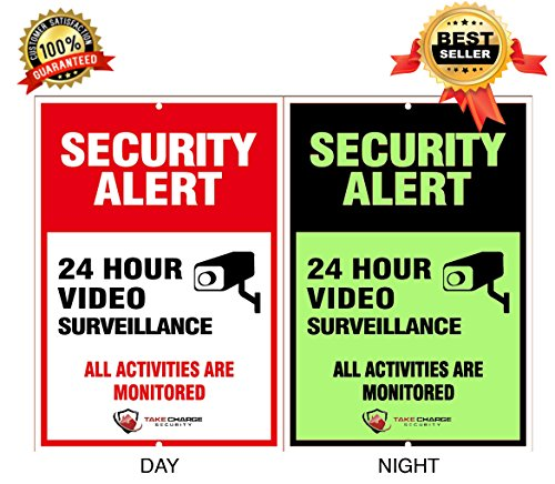 Private Drive Lawn Sign - Take Charge Security Video Surveillance Sign - No Trespassing 24 Hour Glow in The Dark Security Sign - 10
