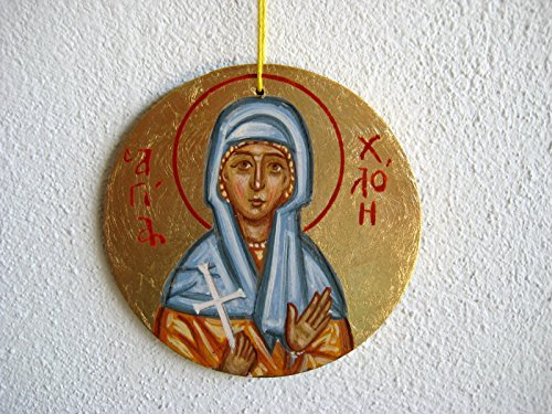 Made to order -Saint Chloe hand painted byzantine icon, round religious charm gift