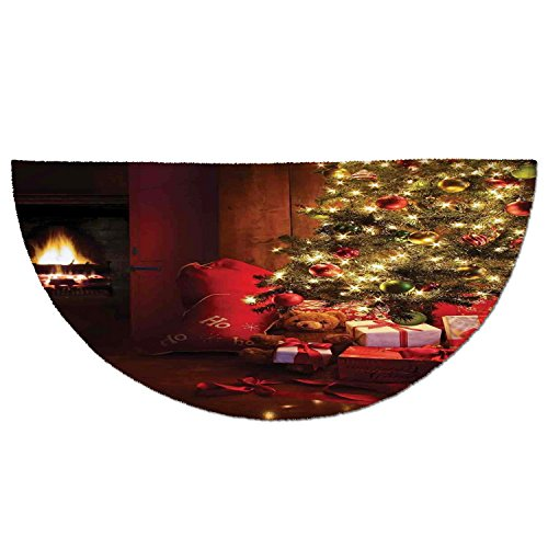 Half Round Door Mat Entrance Rug Floor Mats,Christmas,Xmas Scene with Decorated Luminous Tree and Gifts by the Fireplace Artful Image,Red Yellow,Garage Entry Carpet Decor for House Patio Grass Water by iPrint