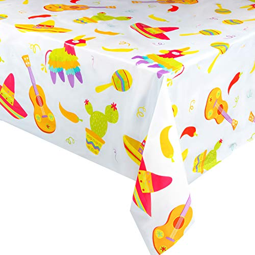6-Pack Fiesta Plastic Tablecloth - Rectangle 54 x 108 Inch Disposable Table Cover, Fits Up to 8-Foot Long Tables, Mexican, Cinco de Mayo, Taco Themed Decorations, Fiesta Party Supplies, 4.5 x 9 Feet