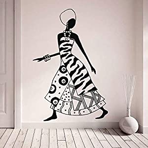Wall Tattoo, African Woman Decal, Tribal Africa Thematic Sticker, Fashion Black Women Dancers Decals, Tribal for Print DIY Nursery Art Decals Wallpaper