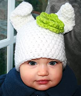 fd49e3e6977 Crochet pattern Baby bunny hat beanie with flower includes 4 sizes from  newborn to adult (