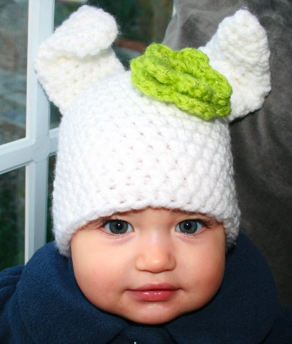 Crochet pattern Baby bunny hat beanie with flower includes 4 sizes from newborn to adult (Crochet Animal hats Book 1)