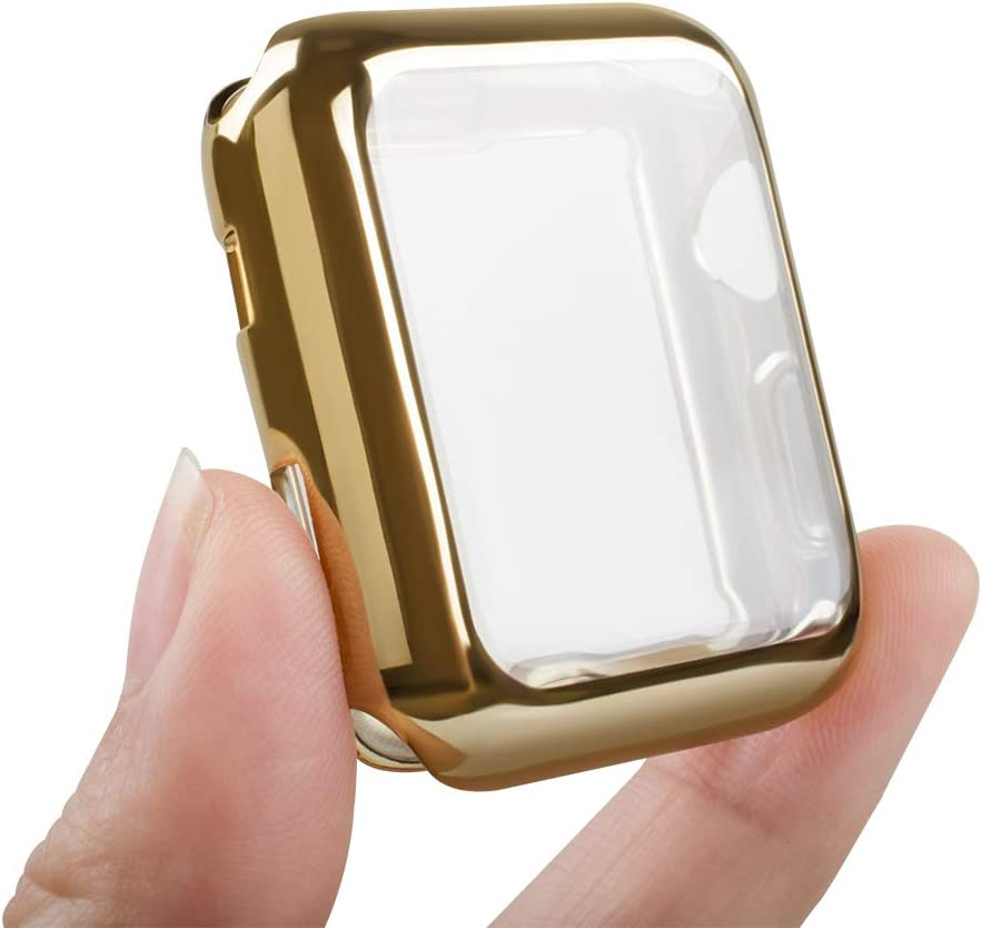 top4cus Environmental Anti-Resistant Soft TPU Lightweight 40mm Iwatch Case All-Around Protective Screen Protector Compatible Apple Watch Series 5 Series 4 Series 3 Series 2 - Gold